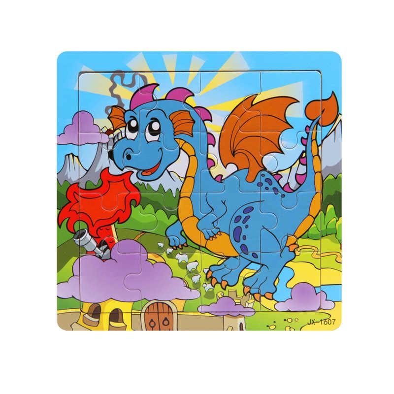 Di legno Di Puzzle Del Fumetto Giovane Blu Dinosauro Giocattoli Educativi Dello Sviluppo Del Bambino di Formazione Per Bambini Puzzle di Animali Puzzle Di Puzzle MP146