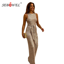 SEBOWEL Glitter Gold/Silver/Black Women Sequin Jumpsuit Sexy Hollow Out Back Sleeveless Wide Leg Jumpsuits Female Pants Rompers