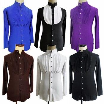 Men's Long Sleeve V Neck Sequin Diamond Tops Latin Ballroom Shirt Practice Competition Latin Dance Shirts