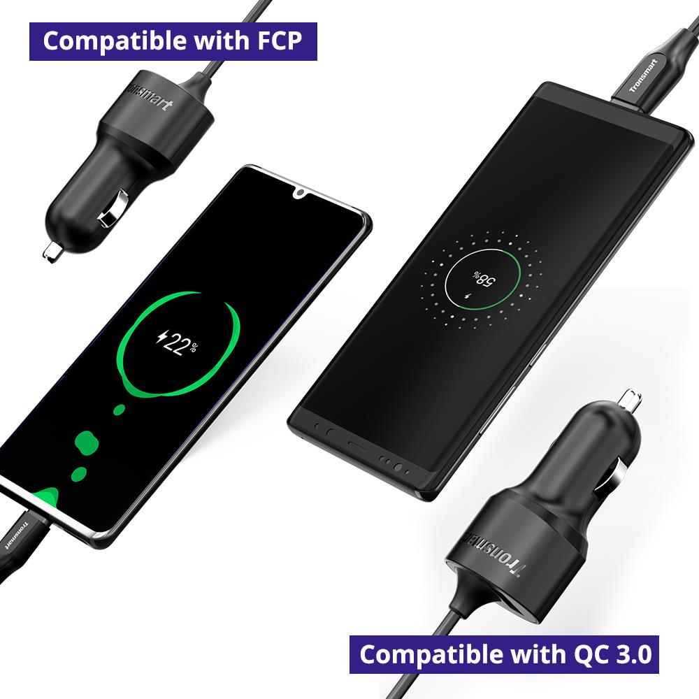 Tronsmart CCTA Car Charger 36W PD Charger Quick Charge with USB C Cable Support PD3.0, QC3.0, FCP, Apple 2.4 for iPhone,Huawei (8)