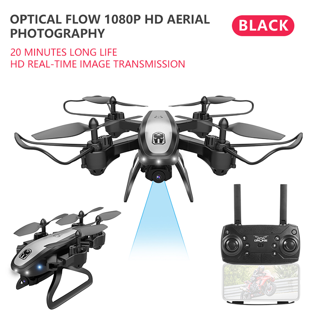 KY909 4K HD Camera Drone FPV WIFI Optical Flow Positioning RC Aircraft Foldable Altitude Hold Long Battery Life Kids Toys