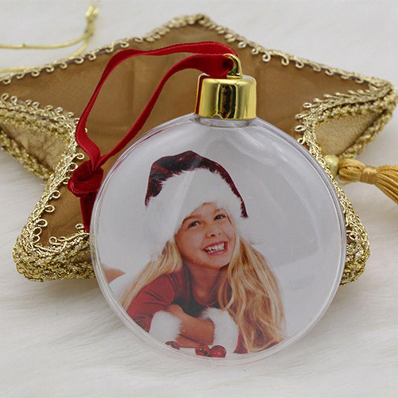 DIY прозрачный кулон-фоторамка Снеговик пятизвездный шар Рождественская елка подвесные украшения Рождественские украшения для дома - Цвет: B