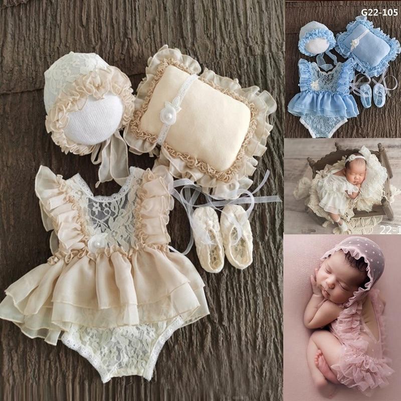 0-3Month Baby Neugeborenen Fotografie Requisiten Baby Hut Baby Mädchen Spitze Romper Body Outfit Fotografie Kleidung