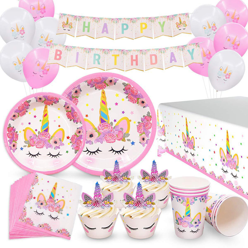 Unicorn Party Supplies Kids Birthday Theme Party Supplies Birthday Decoration Disposable Tableware Set Paper Plates Cup