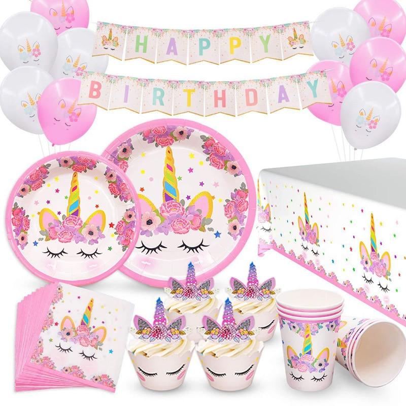 Unicorn Party Supplies Kids Birthday Theme Party Supplies Birthday Decoration Disposable Tableware Set Paper Plates Cup