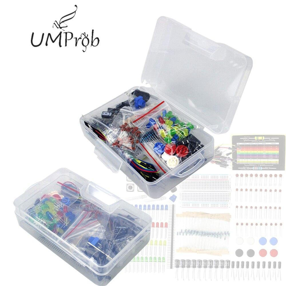 Starter Kit  Resistor /LED / Capacitor / Jumper Wires / Breadboard Resistor Kit With Retail Box For Arduino UNO R3 MEGA 2560