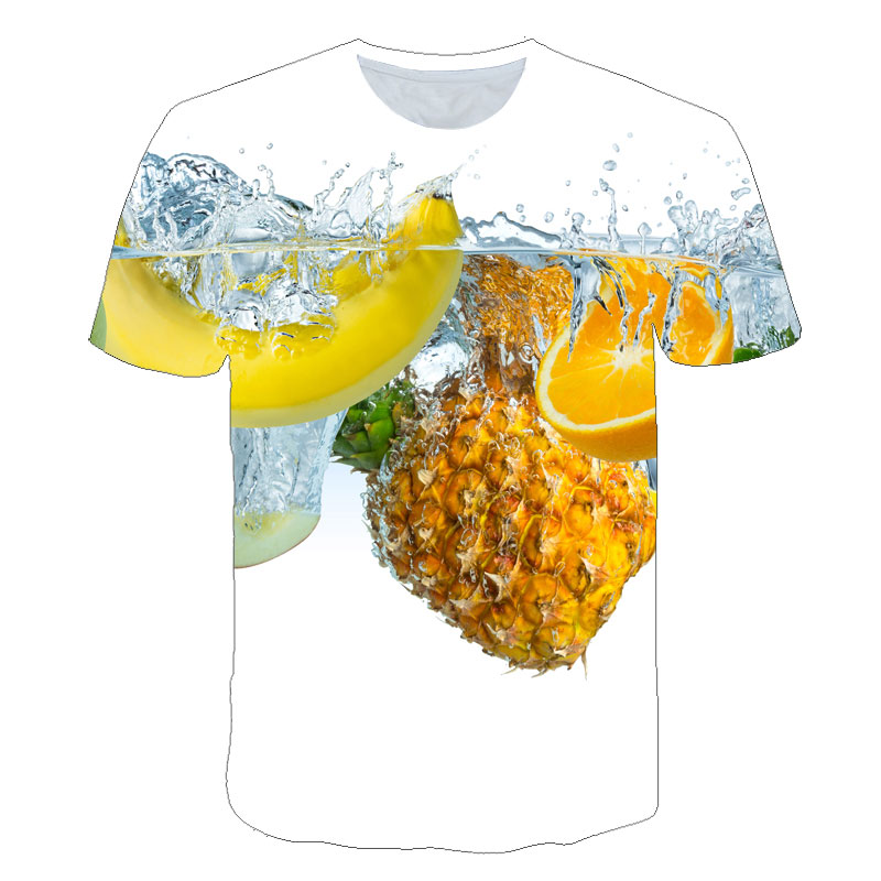 BIAOLUN <font><b>News</b></font> Men/Women Fashion Summer 2019 Tees Streetwear Fruits Tops Cartoon Pineapple Print Round Neck Short Sleeve T-shirt image