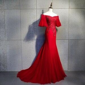 Image 3 - Burgundy Evening Dress Abendkleider Party Dress Sweetheart Mermaid With Appliques Evening Dresses Long Dress 2019 Robe De Soiree