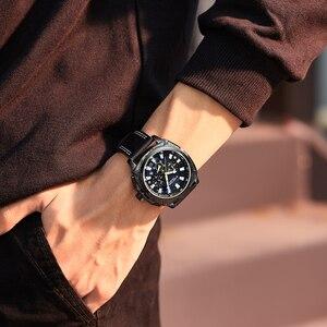 Image 5 - Megir Casual Sport Horloges Voor Mannen Zwart Top Merk Luxe Militaire Lederen Polshorloge Man Klok Fashion Chronograph Horloge