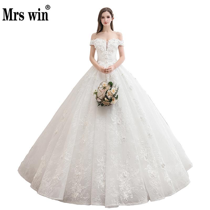 Mrs Win Wedding Dress 2020 New Luxury Boat Neck Lace Embroidery Wedding Gown Princess Wedding Dress Custom Size Vestido De Noiva