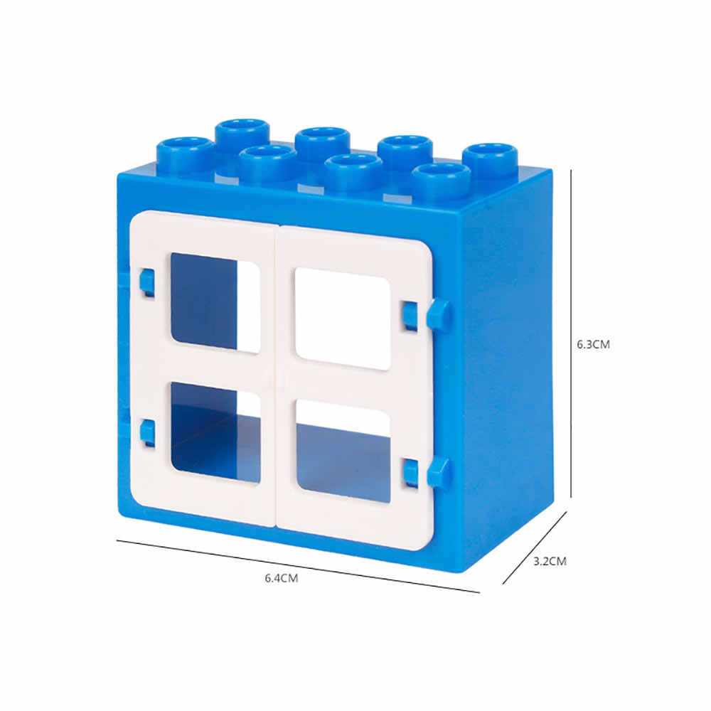 เด็กรั้วเลื่อนบันไดหน้าต่างอิฐอนุภาคขนาดใหญ่บล็อกอาคารอุปกรณ์เสริมของขวัญของเล่น Playmobil ใช้งานร่วมกับ Legoly Duplo