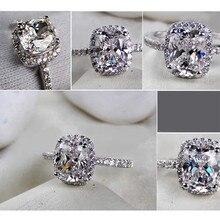 CC обручальные кольца для женщин S925 серебро кубический цирконий прямоугольник белый камень регулируемый размер обручальное кольцо Бижу Femme CC595