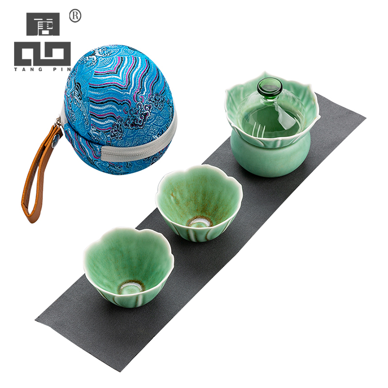 TANGPIN Green Ceramic Teapots Gaiwan With 2 Cups Portable Travel Tea Sets Drinkware