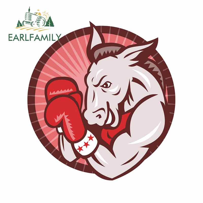 EARLFAMILY 13cm x 12.1cm for <font><b>Democrat</b></font> Donkey Mascot Boxer Fine Decal 3D Funny Car <font><b>Stickers</b></font> Bumper Decoration Scratch-proof Decal image