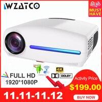 WZATCO C2 1920*1080P Full HD светодиодный проектор с 4D цифровой Keystone 6500 люмен Домашний кинотеатр портативный HDMI проектор СВЕТОДИОДНЫЙ Proyector