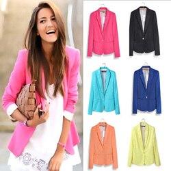 Женский блейзер с длинным рукавом, женский пиджак, Женский блейзер, розовый, синий, желтый, черный, Осенний блейзер