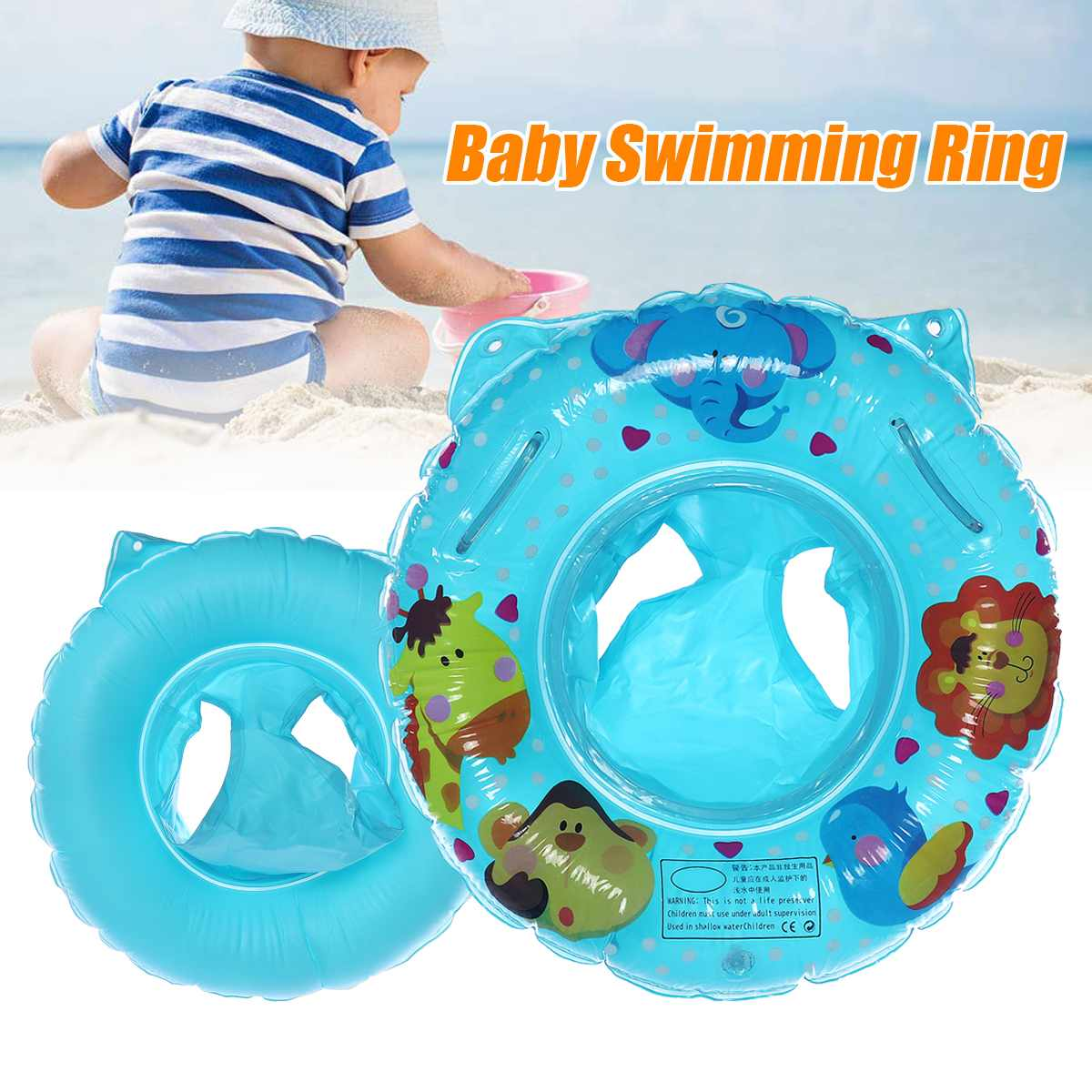 Inflatable PVC Baby Swimming Floating Ring Circle Kids With Cushions Seat Safety Pool Water 6-36 Months