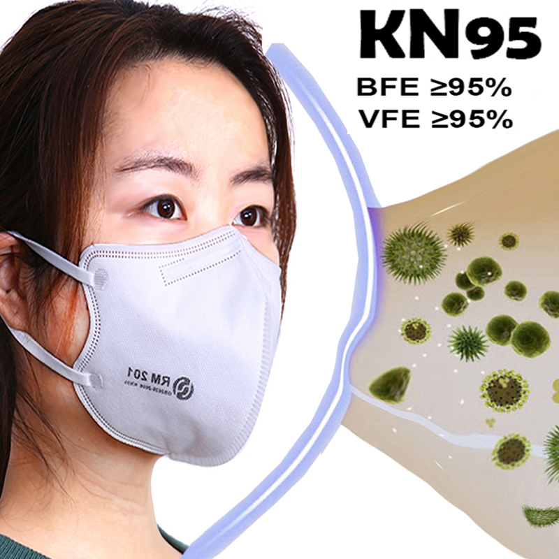 KN95 Mask Non-woven Fabric Protective Masks Disposable Face Mask Mouth Mask 95% Filtration For Dust Particles Pollution