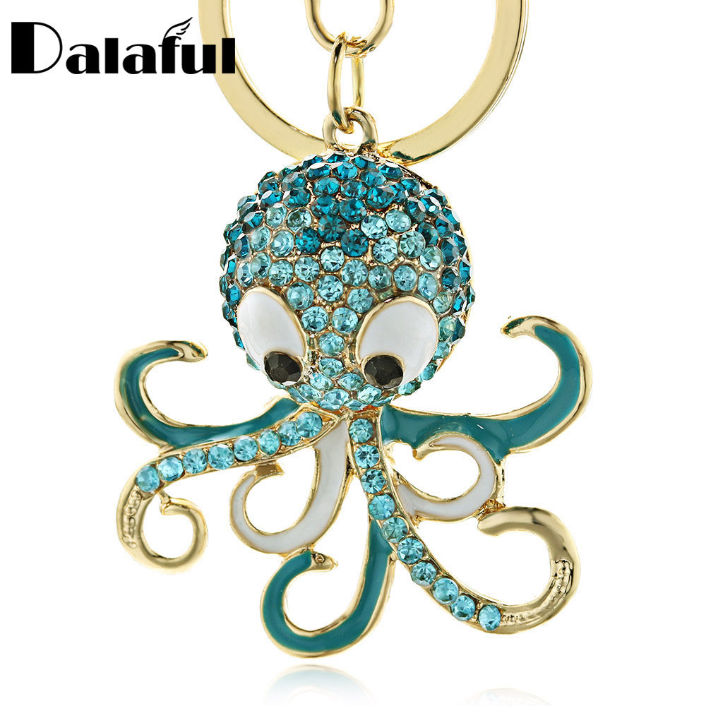 Dalaful Cute Octopus Keychain Keyring Crystal Ocean Animal Purse Handbag Bags Pendant Key Chain Ring Holder For Car Women K377