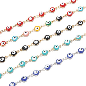 1 Meter Stainless Steel Turkey Eye Charm Chains Enamel Black Red Blue Eye Protection Link Chains for DIY Jewelry Making