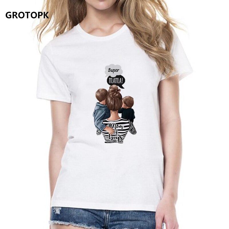 Super Mama T-shirts For Women Mother's Love Print White T-shirt Tee Shirt Femme Cotton Vogue T Shirt Tops Streetwear Clothes