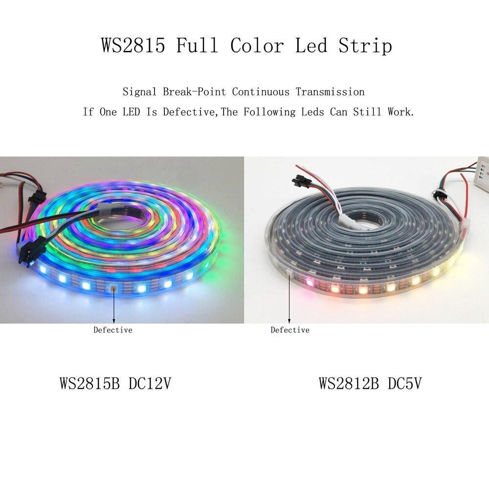 DC12V WS2815(WS2812B WS2813 Update) RGB Led Pixel Strip,Individually Addressable White/Black PCB Dual-Signal Led Flexible Light