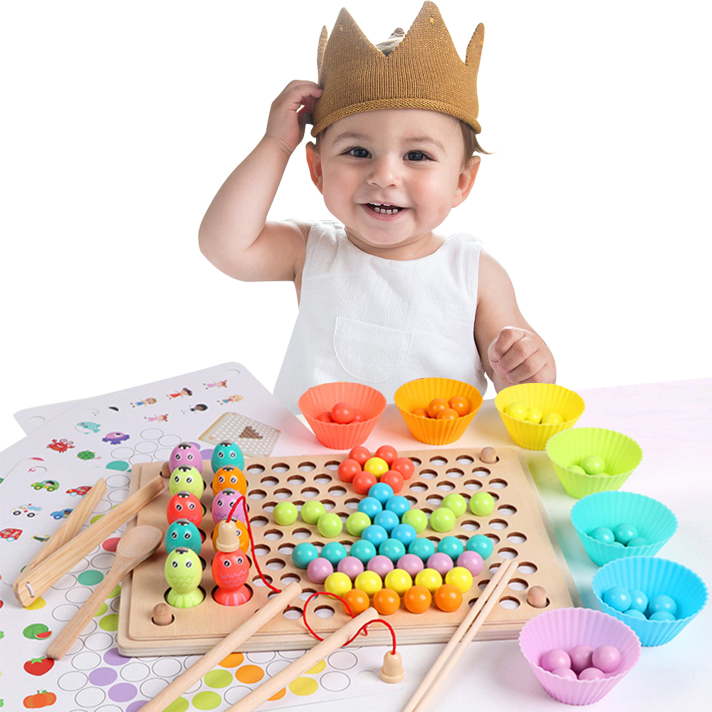 Kids Toys Educational Montessori Color Sorting Wooden Toys Hands Brain Training Clip Beads Math Toy Game For Children's Gift