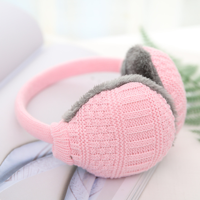 Adjustable Knitting Earmuffs Female Elegant Pure Color Japanese Style Lovely Autumn Winter High Quality Plush Warming Earmuffs