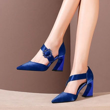 Rimocy Blue Crystal Buckle Banquet Pumps Women Sexy Blue Silk Pointed Toe Shoes Woman Elegant High Heels Wedding Shoes Ladies(China)