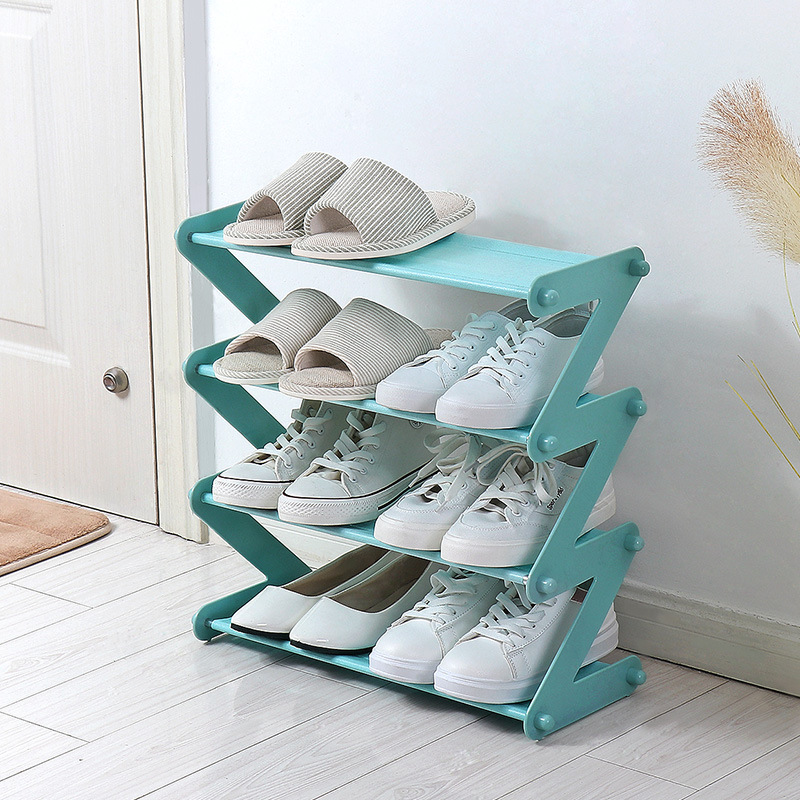 Creative Z forme 4/5 couches chaussures stand ménage bref tissu chaussures stockage stand salle organisation vente chaude en plastique étagère