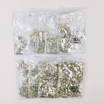 1pack Holigraphic Nail Rhinestone Crystal AB Color 1440Pcs 1.3mm-8.6mm Non Hotfix Flatback Rhinestones 3D Art Decorations