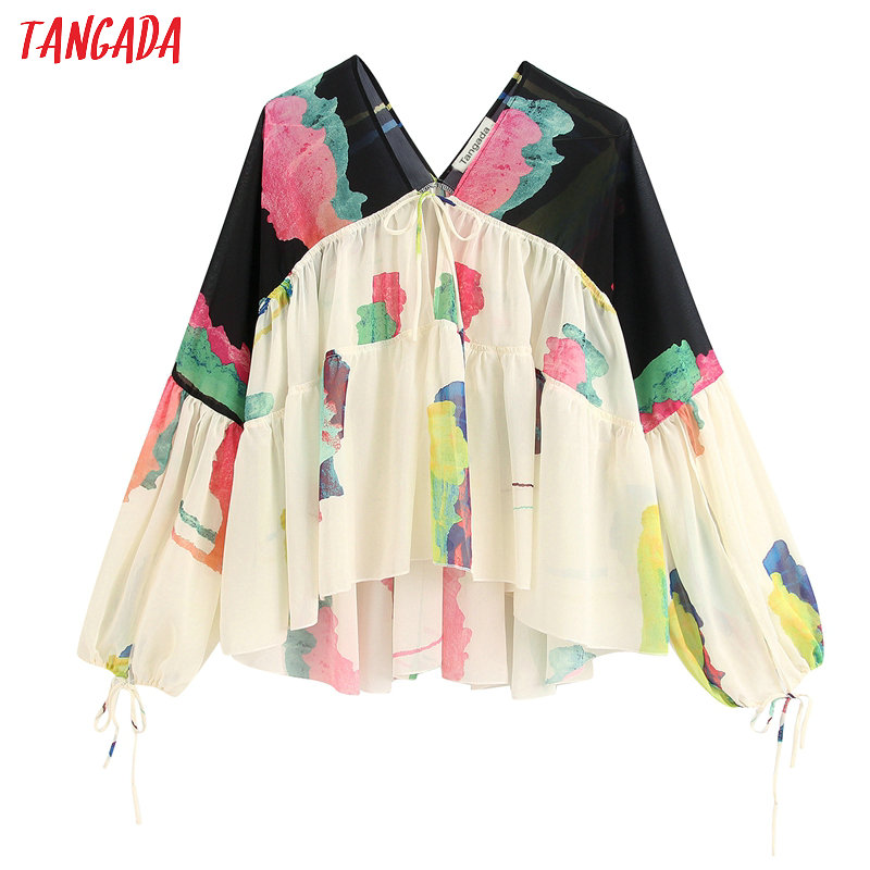 Tangada Women Retro Oversized Print Beach Shirt Long Sleeve Chic Female Casual Loose Tops BE408
