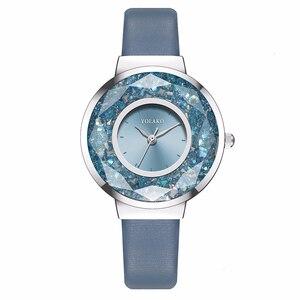 Image 4 - YOLAKO Brand Women Leather Moving Diamond Watch Luxury Ladies Quartz Rhinestone Watches Clock Reloj Mujer Relogio Feminino