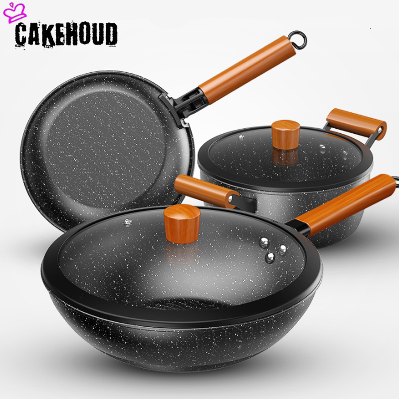 8 Piece Non-Stick Cookware Set Teflon Frying Pan Soup Pan Milk Pan Aluminium