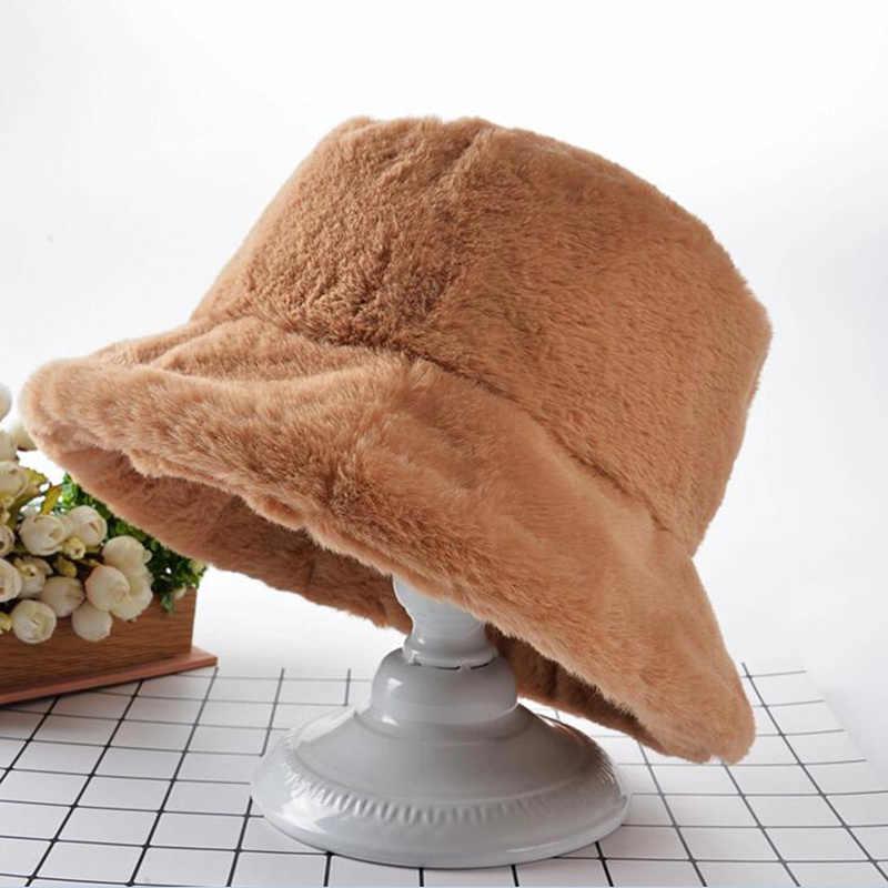 الشتاء النساء قبعة مسطحة الفراء سميكة الدافئة أفخم بوب دلو القبعات عادية بلون السيدات الفراء الشتاء جميع Matched الدافئة المشي قبعة