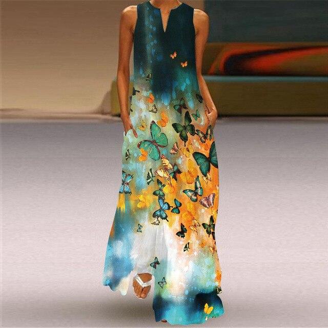 MOVOKAKA Heart Print Vintage Dress 2021 Party V Neck Summer Sundresses Elegant dresses Women Casual Beach Maxi Dresses For Women 4