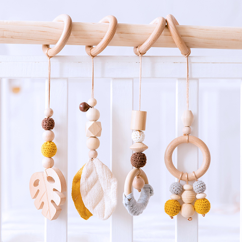 1set Baby Toys Wooden Activity Gym Play Ring Star Wooden Rodent Musical  Mobile Bed Newborn Educational Infant Stroller Toy Gift