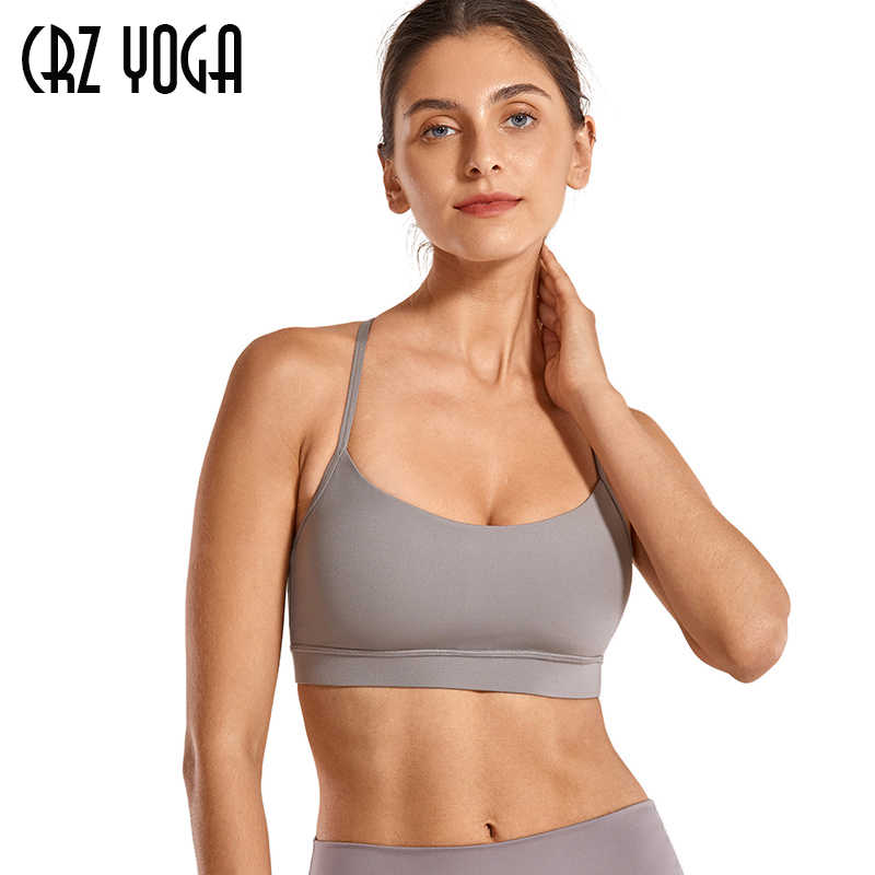 CRZ YOGA Brushed Low Impact Strappy Sports Bra for Women Y Racer Back Spaghetti Strap Yoga Bra Tops with Removable Pads