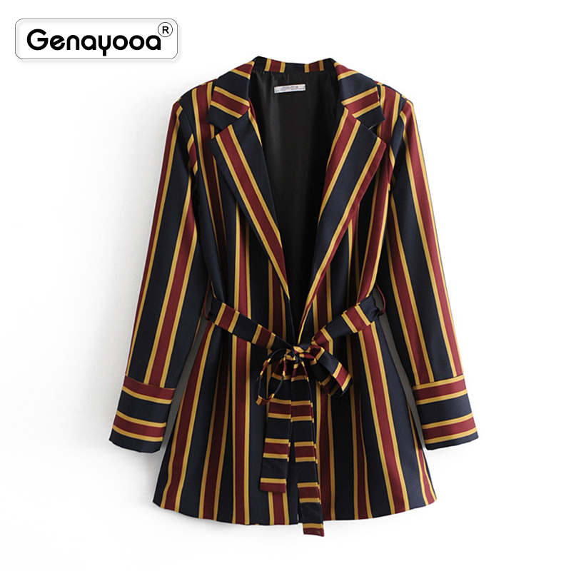 Genayooa Office Blazer Jackets Women Coat Temperament Stripe High-Quality And