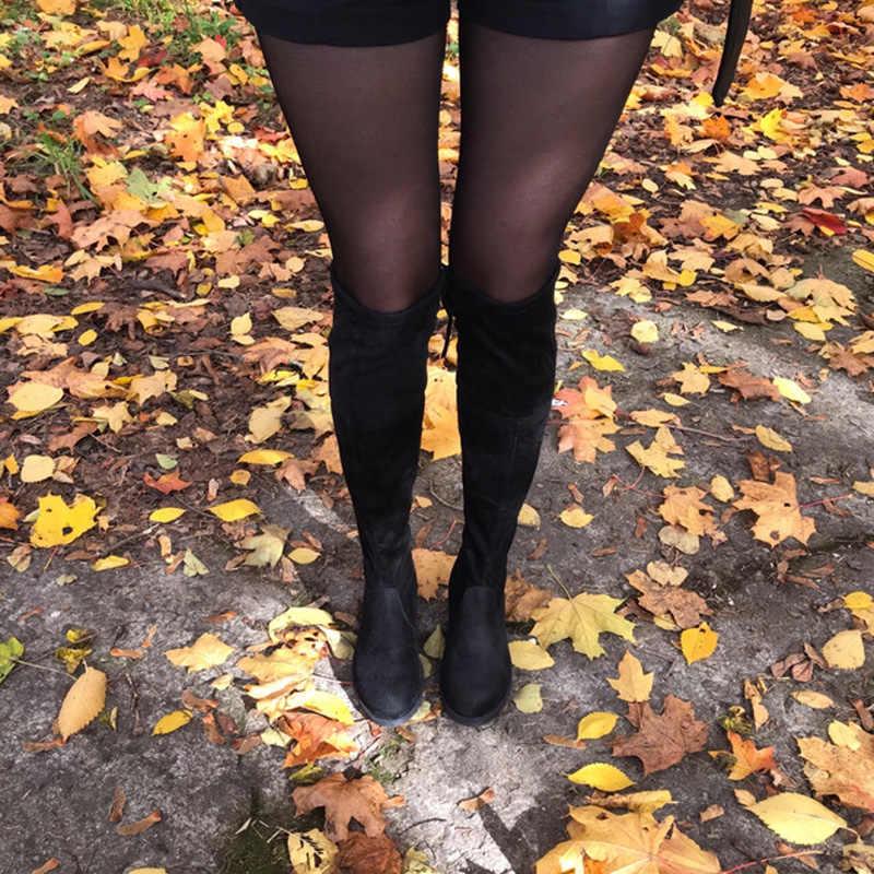 Kadınlar diz çizmeler üzerinde kış sonbahar kadın yüksek çizmeler Lace Up seksi düz topuklu 3.5CM siyah kadın botları j552 boyutu 34-43
