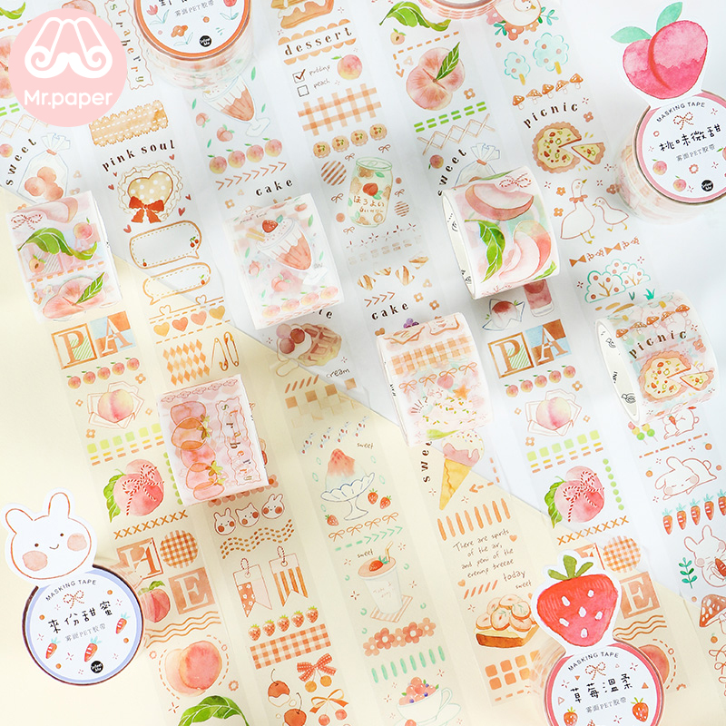 Mr Paper 2pcs/pack 6 Designs Decilious Strawberry Peach Cartoon Bullet Journaling Deco Sticker Foggy PET Material Masking Tapes