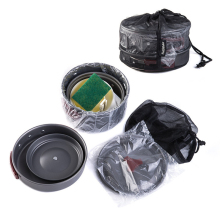 Multifunction Cooking Set Outdoor Camping Hiking Tableware Cookware Cooking Bowl Pot Pan Stove Set Kit стоимость