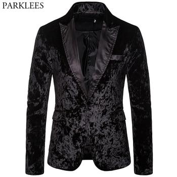 Black Corduroy Men Blazer One Button Casual Blazer Men Blazer Jacket Wedding Party Club Stage Mens Suit Jacket Blazer Masculino фото