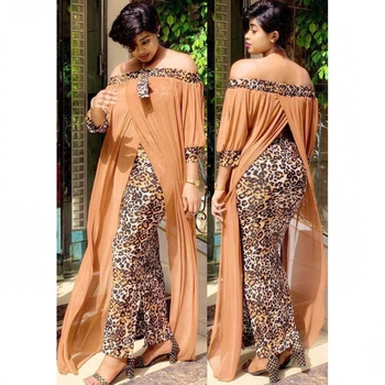 beautiful maxi dress, leopard print off shoulder backless dress 1