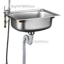Stainless Steel Wall Sink Small Single Tank Kitchen Simple Vegetable Basin Bowl Sink Sink Sink Single Basin With Bracket