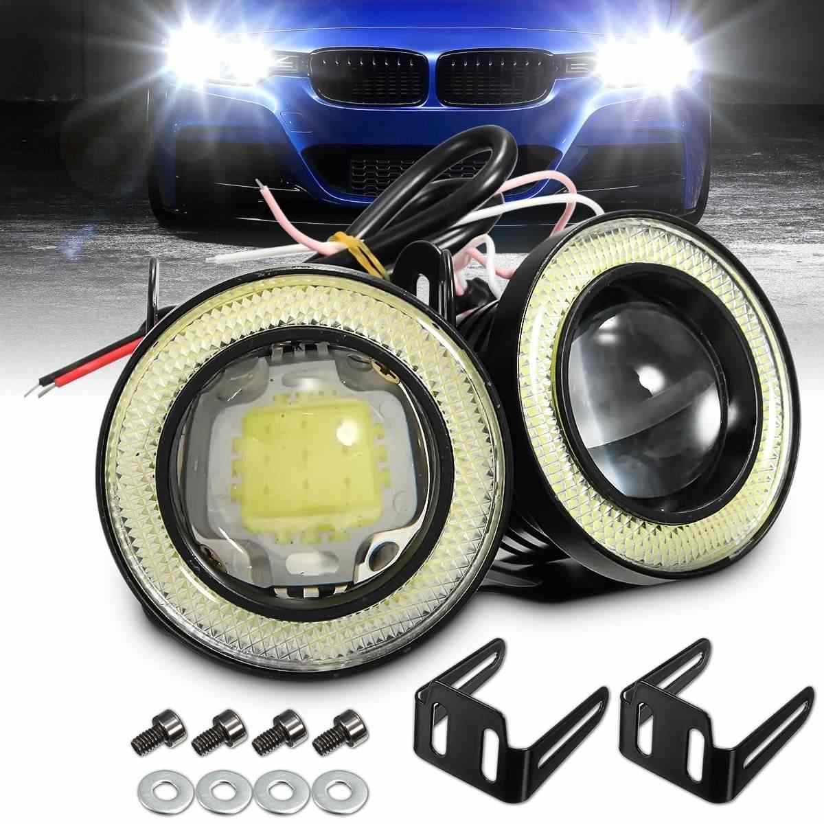 Pair Universal 2.5 Inch COB LED Fog Lights White Angel Eyes Halo Ring Daytime Running Lights DRL Projector Lamp 30W Car Light