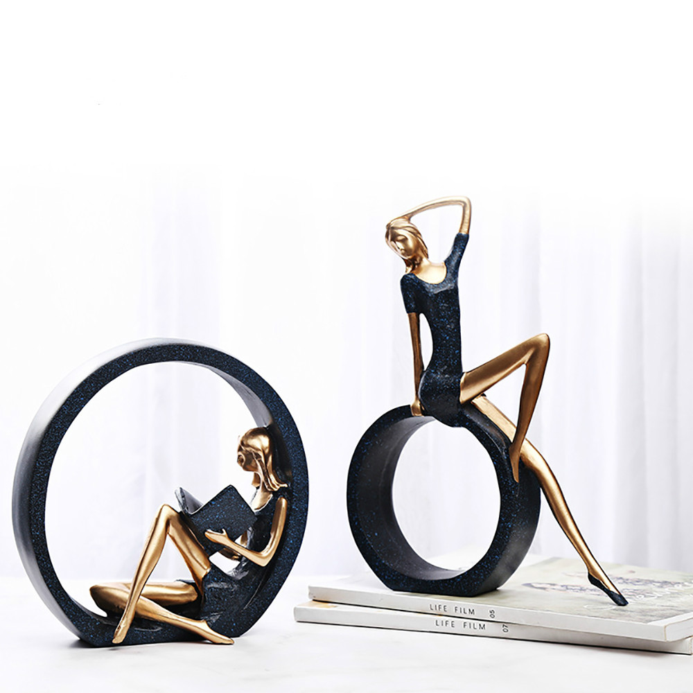Resin Yoga Girl Statue Nordic Figurines Creative Crafts Sculpture Living Room TV Cabinet Home Decoration Ornaments Statue