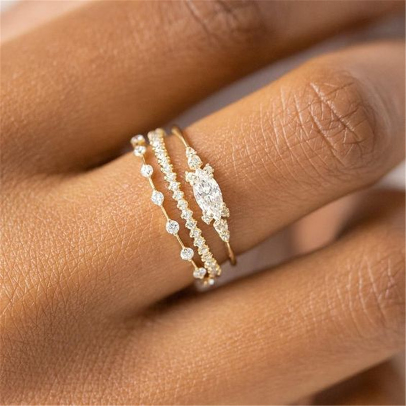Modyle 3pcs/set Promise Gold Color AAAAA CZ Stone Statement Party Wedding Band Rings for women Engagement Jewelry