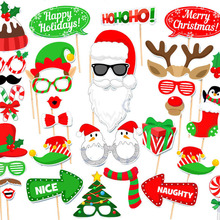 32pcs/set Christmas party wedding moustache funny Handheld Photo Props kids toys новогодняя kerstdecoratie christmas decorations новогодняя упаковка mister christmas