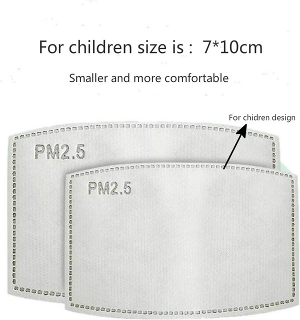 100pcs/Lot PM2.5 Activated Carbon Filter Paper  for children design Mouth Face Mask Health Care 2
